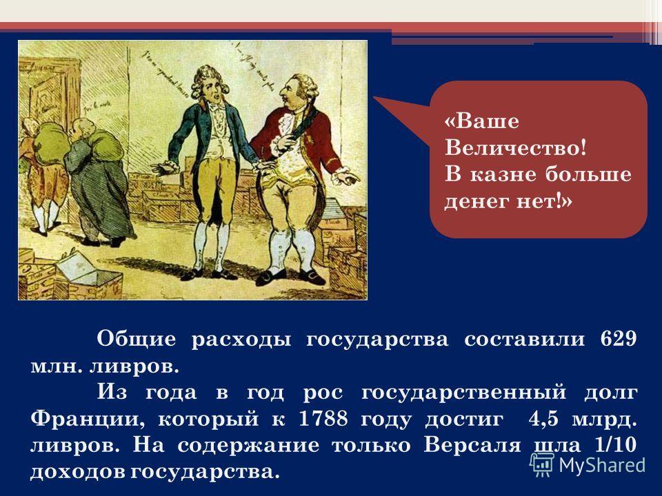 «Ваше Величество! В казне больше денег нет!» Общие расходы государства составили 629 млн. ливров. Из года в год рос государственный долг Франции, который к 1788 году достиг 4,5 млрд. ливров. На содержание только Версаля шла 1/10 доходов государства.