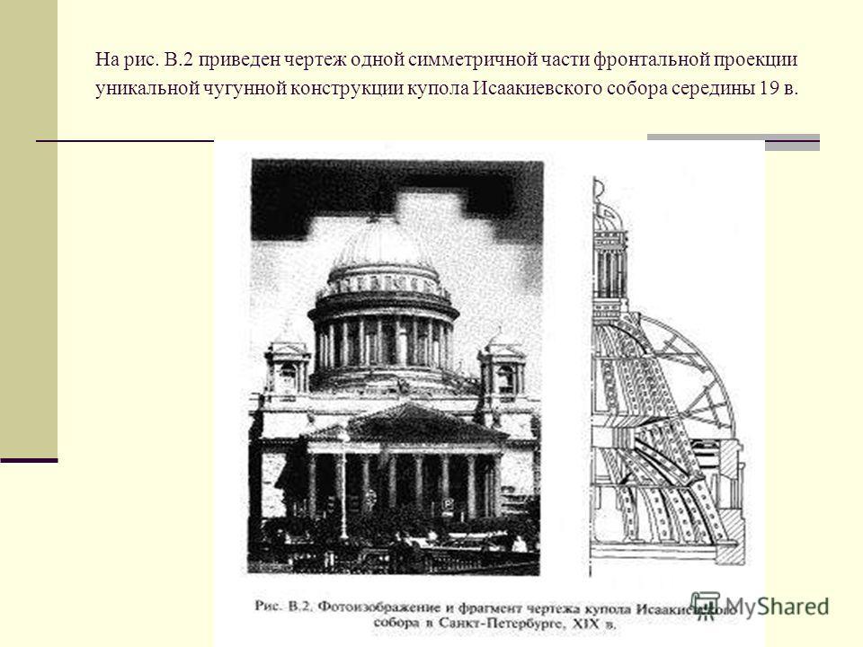 На рис. В.2 приведен чертеж одной симметричной части фронтальной проекции уникальной чугунной конструкции купола Исаакиевского собора середины 19 в.