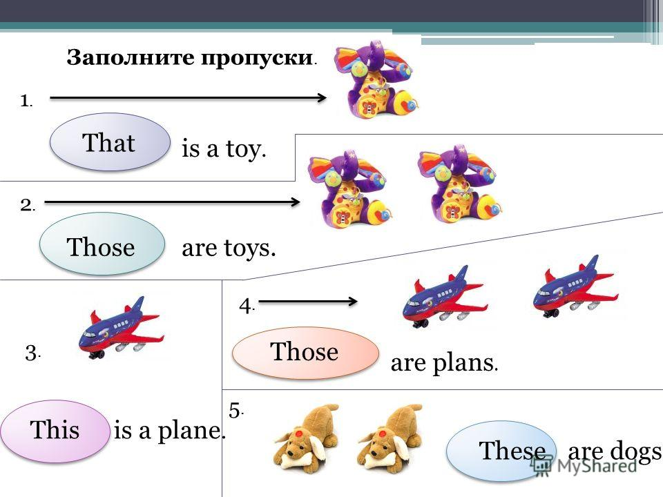 Заполните пропуски. 1.1. is a toy. 2.2. are toys. 3.3. is a plane. 4.4. are plans. 5.5. are dogs. That Those This Those These