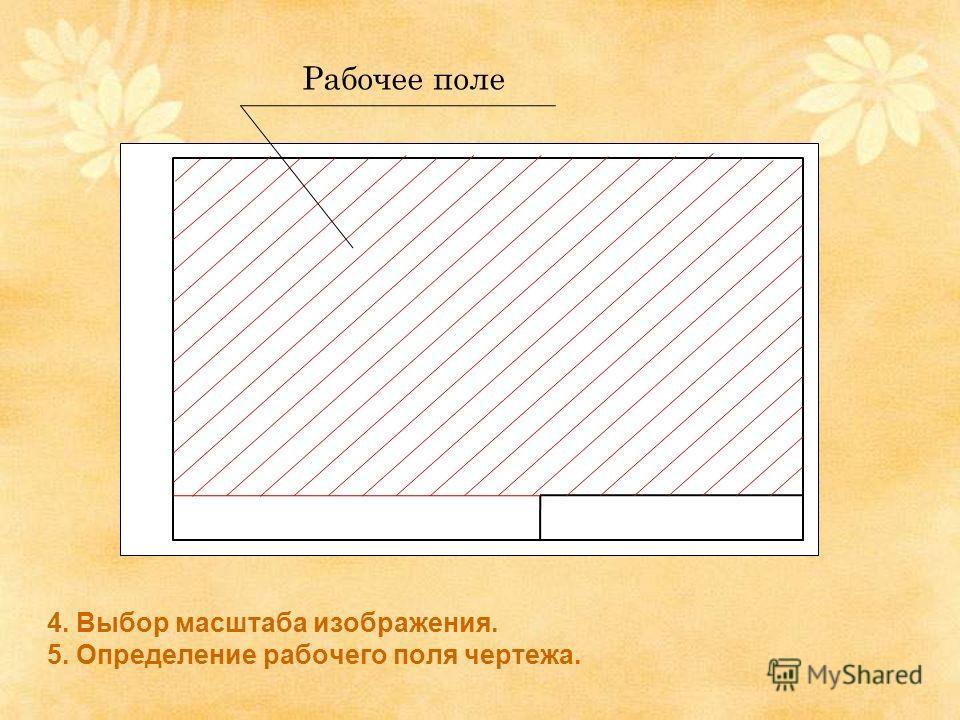 4. Выбор масштаба изображения. 5. Определение рабочего поля чертежа. Рабочее поле