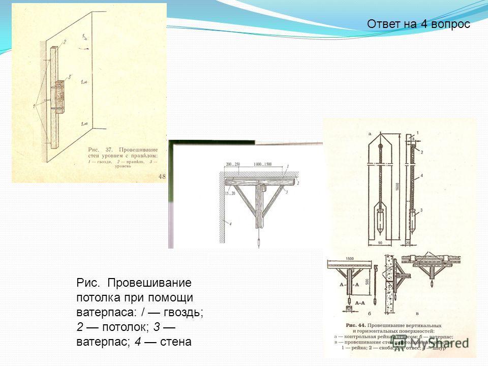 Рис. Провешивание потолка при помощи ватерпаса: / гвоздь; 2 потолок; 3 ватерпас; 4 стена Ответ на 4 вопрос