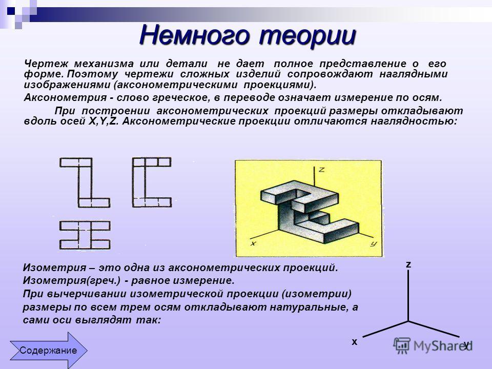 Немного теории Чертеж механизма или детали не дает полное представление о его форме. Поэтому чертежи сложных изделий сопровождают наглядными изображениями (аксонометрическими проекциями). Аксонометрия - слово греческое, в переводе означает измерение