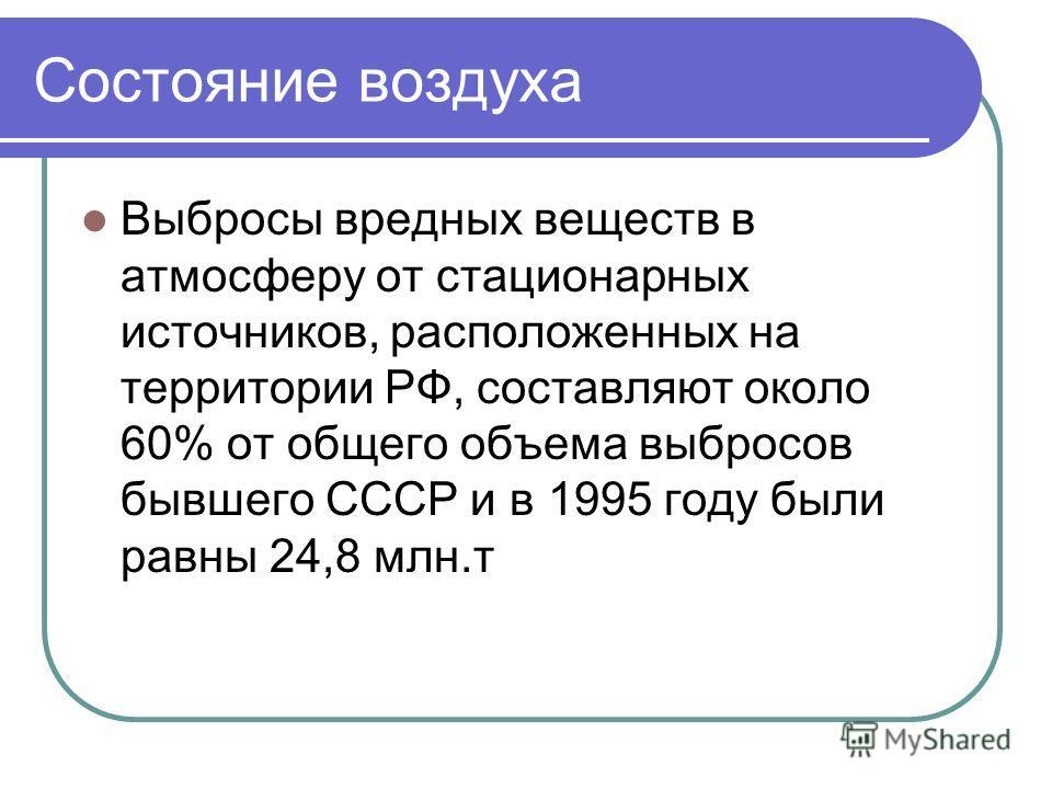 Состояние воздуха Выбросы вредных веществ в атмосферу от стационарных источников, расположенных на территории РФ, составляют около 60% от общего объема выбросов бывшего СССР и в 1995 годy были равны 24,8 млн.т