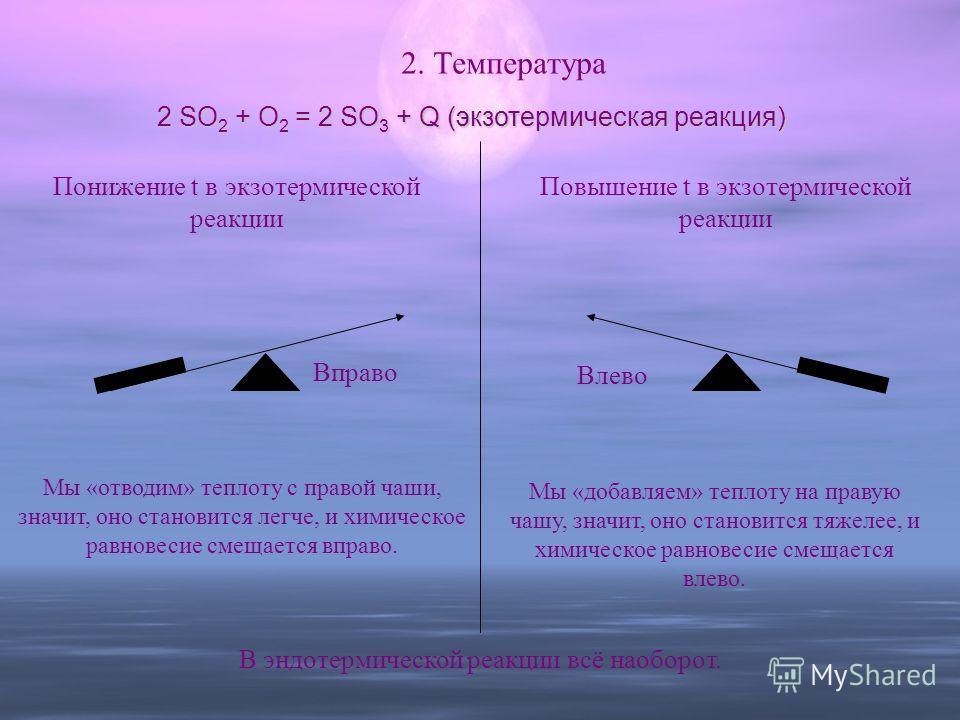 2. Температура 2 SO 2 + O 2 = 2 SO 3 + Q (экзотермическая реакция) Понижение t в экзотермической реакции Вправо Влево Мы «отводим» теплоту с правой чаши, значит, оно становится легче, и химическое равновесие смещается вправо. Повышение t в экзотермич