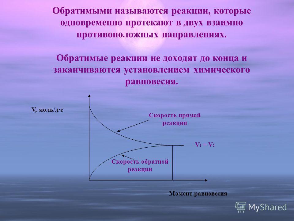 Обратимыми называются реакции, которые одновременно протекают в двух взаимно противоположных направлениях. Обратимые реакции не доходят до конца и заканчиваются установлением химического равновесия. Скорость обратной реакции Скорость прямой реакции М