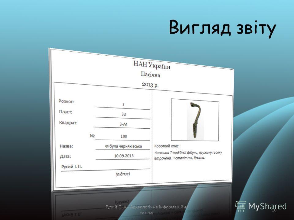 Вигляд звіту Гулий С. А.- Археологічна інформаційна ситема 10