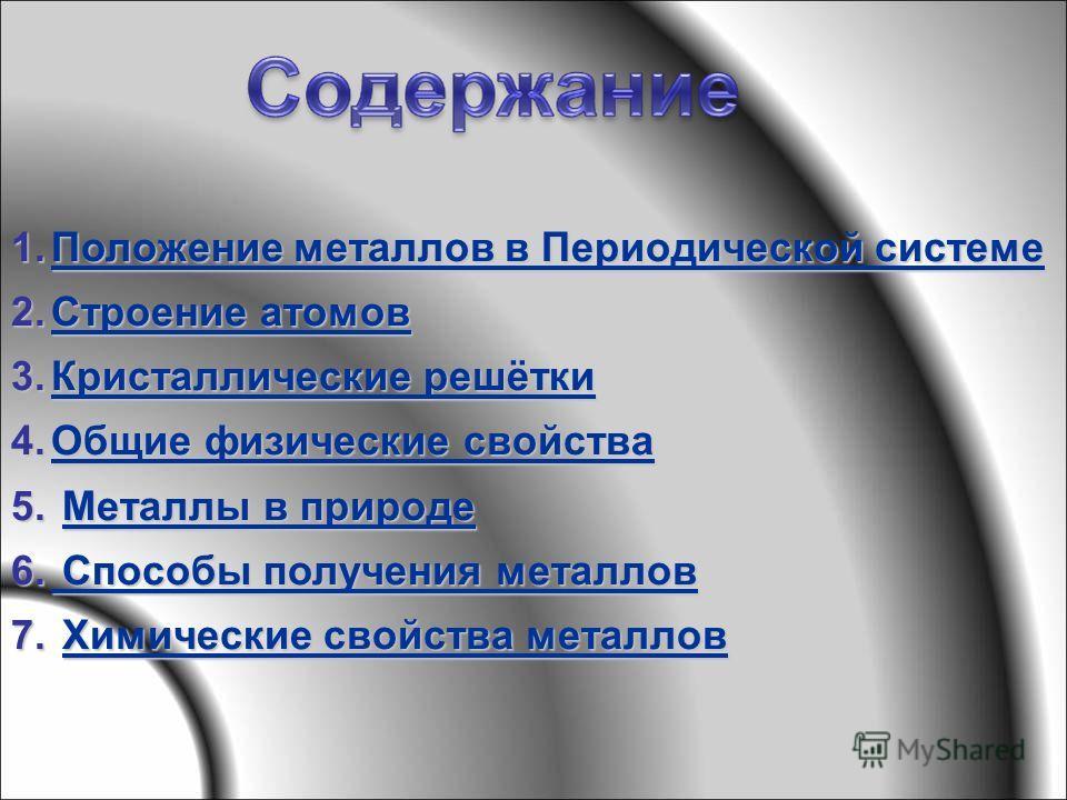 1.Положение металлов в Периодической системе Положение металлов в Периодической системеПоложение металлов в Периодической системе 2.Строение атомов Строение атомовСтроение атомов 3.Кристаллические решётки Кристаллические решёткиКристаллические решётк