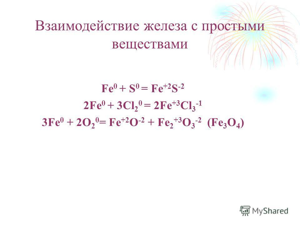 Взаимодействие железа с простыми веществами Fe 0 + S 0 = Fe +2 S -2 2Fe 0 + 3Cl 2 0 = 2Fe +3 Cl 3 -1 3Fe 0 + 2O 2 0 = Fe +2 O -2 + Fe 2 +3 O 3 -2 (Fe 3 O 4 )