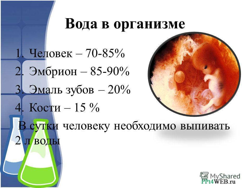 Вода в организме 1.Человек – 70-85% 2.Эмбрион – 85-90% 3.Эмаль зубов – 20% 4.Кости – 15 % В сутки человеку необходимо выпивать 2 л воды