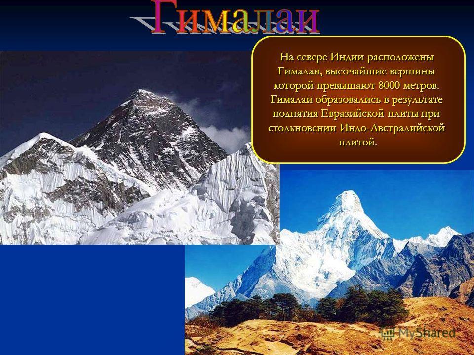 На севере Индии расположены Гималаи, высочайшие вершины которой превышают 8000 метров. Гималаи образовались в результате поднятия Евразийской плиты при столкновении Индо-Австралийской плитой.