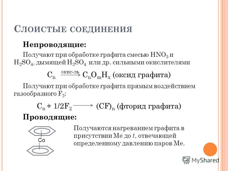С ЛОИСТЫЕ СОЕДИНЕНИЯ Непроводящие: Получают при обработке графита смесью HNO 3 и H 2 SO 4, дымящей H 2 SO 4 или др. сильными окислителями С n окис-ль С n O m H x (оксид графита) Получают при обработке графита прямым воздействием газообразного F 2 : С