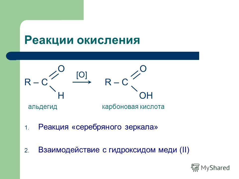 O O R – C H ОН альдегид карбоновая кислота 1. Реакция «серебряного зеркала» 2. Взаимодействие с гидроксидом меди (II) Реакции окисления [O]