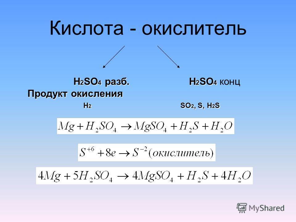 Кислота - окислитель H 2 SO 4 разб. H 2 SO 4 Продукт окисления H 2 SO 4 разб. H 2 SO 4 конц Продукт окисления H 2 SO 2, S, H 2 S