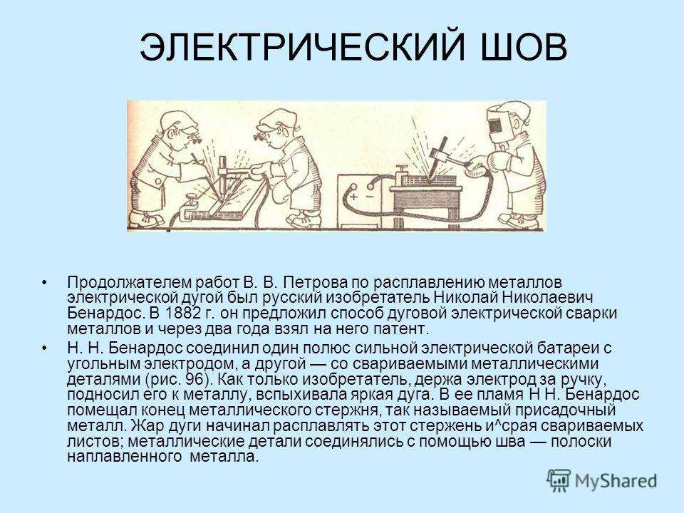 ЭЛЕКТРИЧЕСКИЙ ШОВ Продолжателем работ В. В. Петрова по расплавлению металлов электрической дугой был русский изобретатель Николай Николаевич Бенардос. В 1882 г. он предложил способ дуговой электрической сварки металлов и через два года взял на нег