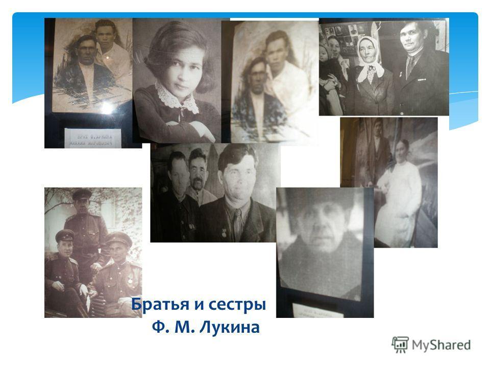 Братья и сестры Ф. М. Лукина