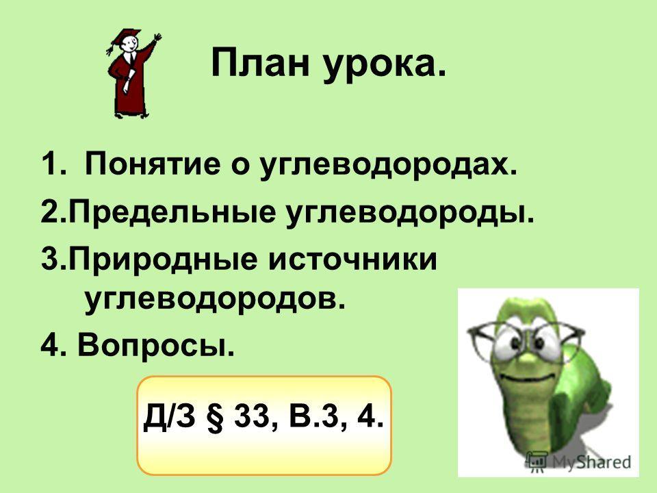 План урока. 1.Понятие о углеводородах. 2.Предельные углеводороды. 3.Природные источники углеводородов. 4. Вопросы. Д/З § 33, В.3, 4.