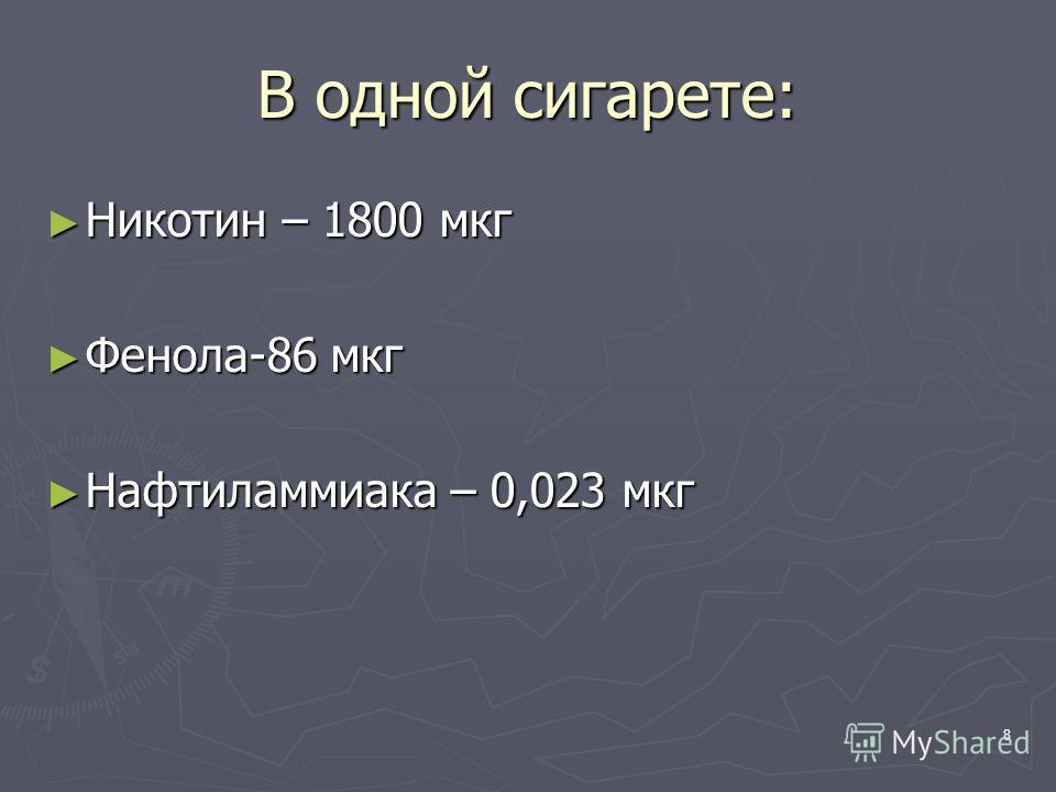 8 В одной сигарете: Никотин – 1800 мкг Никотин – 1800 мкг Фенола-86 мкг Фенола-86 мкг Нафтиламмиака – 0,023 мкг Нафтиламмиака – 0,023 мкг