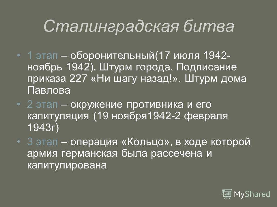 Сталинградская битва 1 этап – оборонительный(17 июля 1942- ноябрь 1942). Штурм города. Подписание приказа 227 «Ни шагу назад!». Штурм дома Павлова 2 этап – окружение противника и его капитуляция (19 ноября1942-2 февраля 1943г) 3 этап – операция «Коль