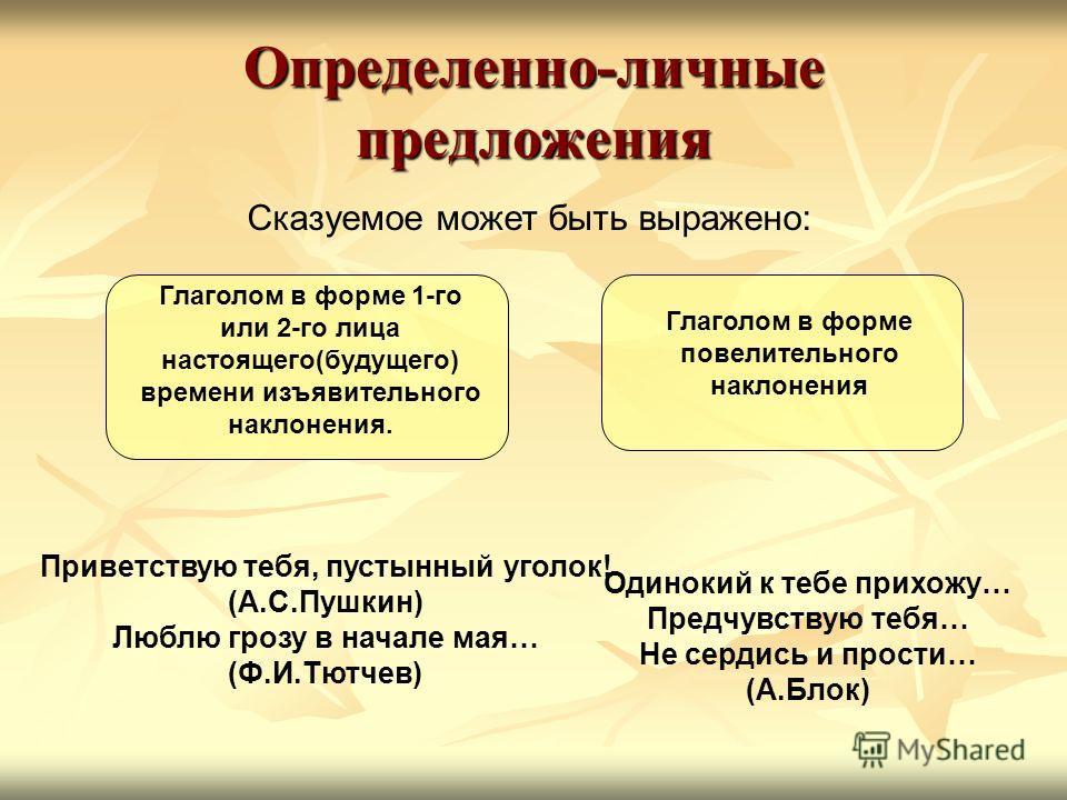 Определенно-личные предложения Сказуемое может быть выражено: Одинокий к тебе прихожу… Предчувствую тебя… Не сердись и прости… (А.Блок) Приветствую тебя, пустынный уголок! (А.С.Пушкин) Люблю грозу в начале мая… (Ф.И.Тютчев) Глаголом в форме 1-го или