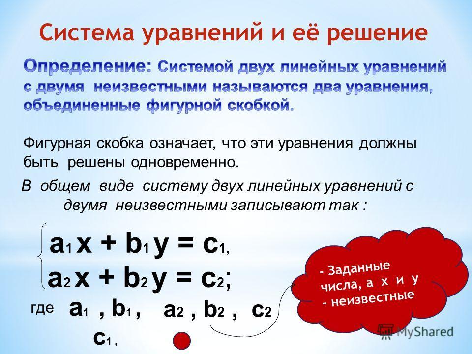 Система уравнений и её решение а 1 х + b 1 y = c 1, а 2 х + b 2 y = c 2 ; В общем виде систему двух линейных уравнений с двумя неизвестными записывают так : где а 1, b 1, c 1, а 2, b 2, c 2 - Заданные числа, а х и у - неизвестные