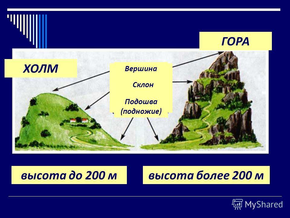 ХОЛМ ГОРА высота до 200 мвысота более 200 м Вершина Склон Подошва (подножие)