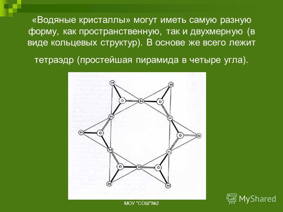 «Водяные кристаллы» могут иметь самую разную форму, как пространственную, так и двухмерную (в виде кольцевых структур). В основе же всего лежит тетраэдр (простейшая пирамида в четыре угла). Соколовская Н.В. учитель биологии МОУ СОШ2