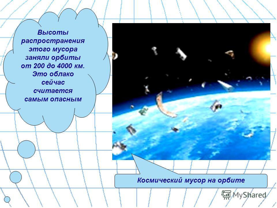 Высоты распространения этого мусора заняли орбиты от 200 до 4000 км. Это облако сейчас считается самым опасным Космический мусор на орбите