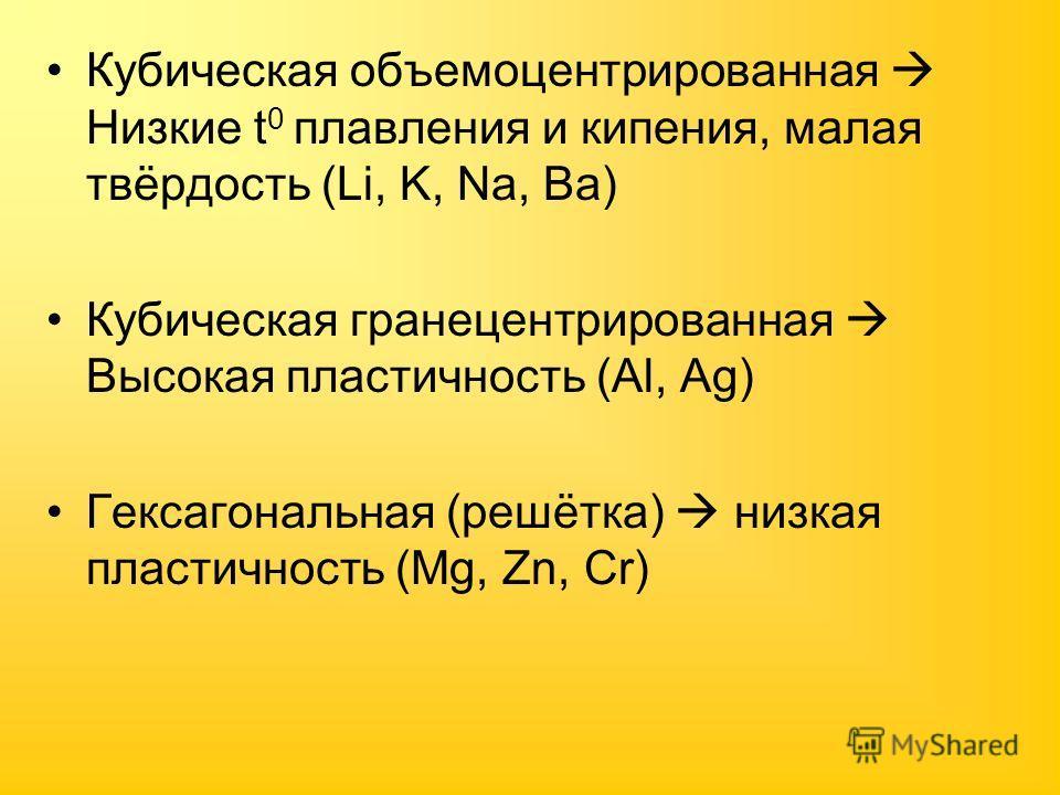 Кубическая объемоцентрированная Низкие t 0 плавления и кипения, малая твёрдость (Li, K, Na, Ba) Кубическая гранецентрированная Высокая пластичность (Al, Ag) Гексагональная (решётка) низкая пластичность (Mg, Zn, Cr)