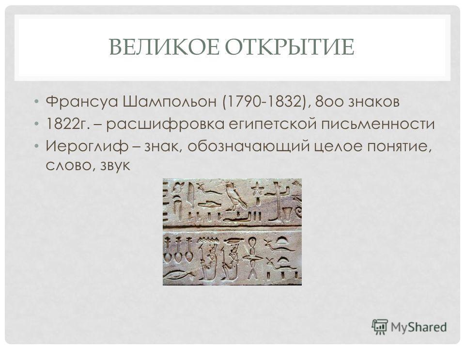 ВЕЛИКОЕ ОТКРЫТИЕ Франсуа Шампольон (1790-1832), 8оо знаков 1822г. – расшифровка египетской письменности Иероглиф – знак, обозначающий целое понятие, слово, звук