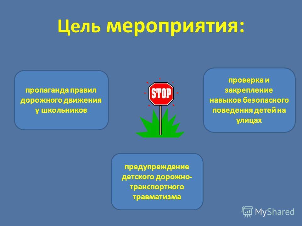 Цель мероприятия: предупреждение детского дорожно- транспортного травматизма пропаганда правил дорожного движения у школьников проверка и закрепление навыков безопасного поведения детей на улицах