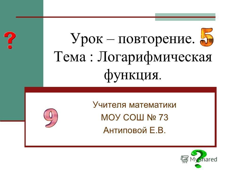 Урок – повторение. Тема : Логарифмическая функция. Учителя математики МОУ СОШ 73 Антиповой Е.В.
