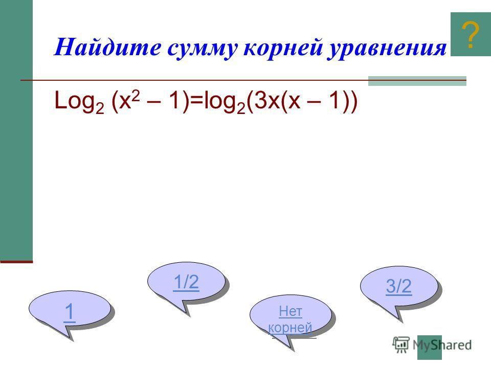 Найдите сумму корней уравнения Log 2 (x 2 – 1)=log 2 (3x(x – 1)) 1 1 1/2 1/2 Нет корней Нет корней 3/2 ?