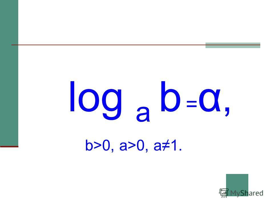 log a b = α, b>0, a>0, a1.