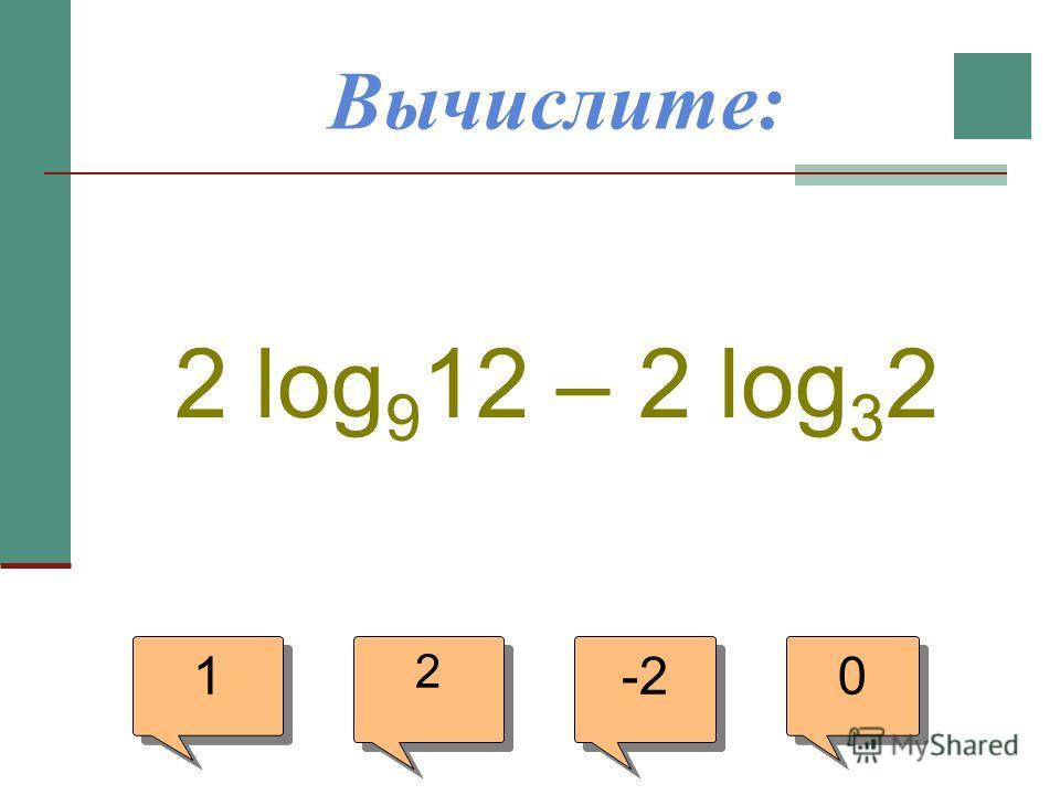 Вычислите: 2 log 9 12 – 2 log 3 2 1 1 2 2 -2 0 0