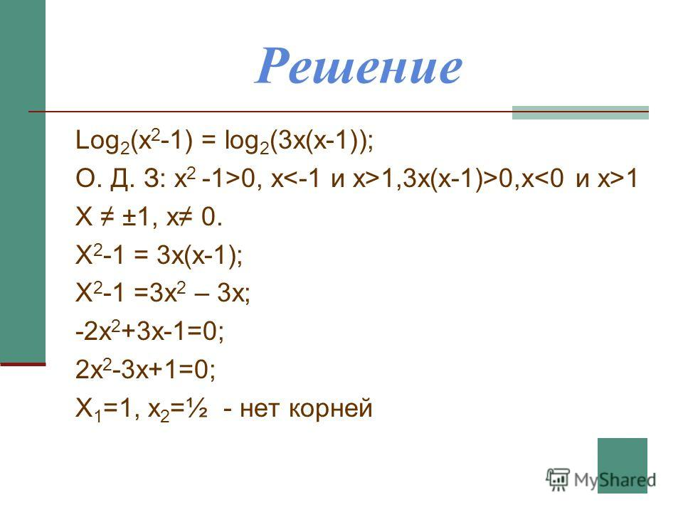 Решение Log 2 (x 2 -1) = log 2 (3x(x-1)); О. Д. З: x 2 -1>0, x 1,3x(x-1)>0,x 1 X ±1, x 0. X 2 -1 = 3x(x-1); X 2 -1 =3x 2 – 3x; -2x 2 +3x-1=0; 2x 2 -3x+1=0; X 1 =1, x 2 =½ - нет корней