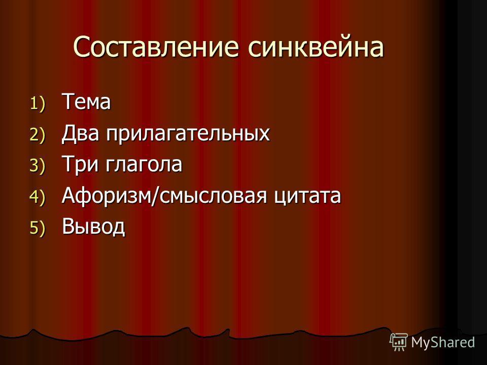Составление синквейна 1) Тема 2) Два прилагательных 3) Три глагола 4) Афоризм/смысловая цитата 5) Вывод