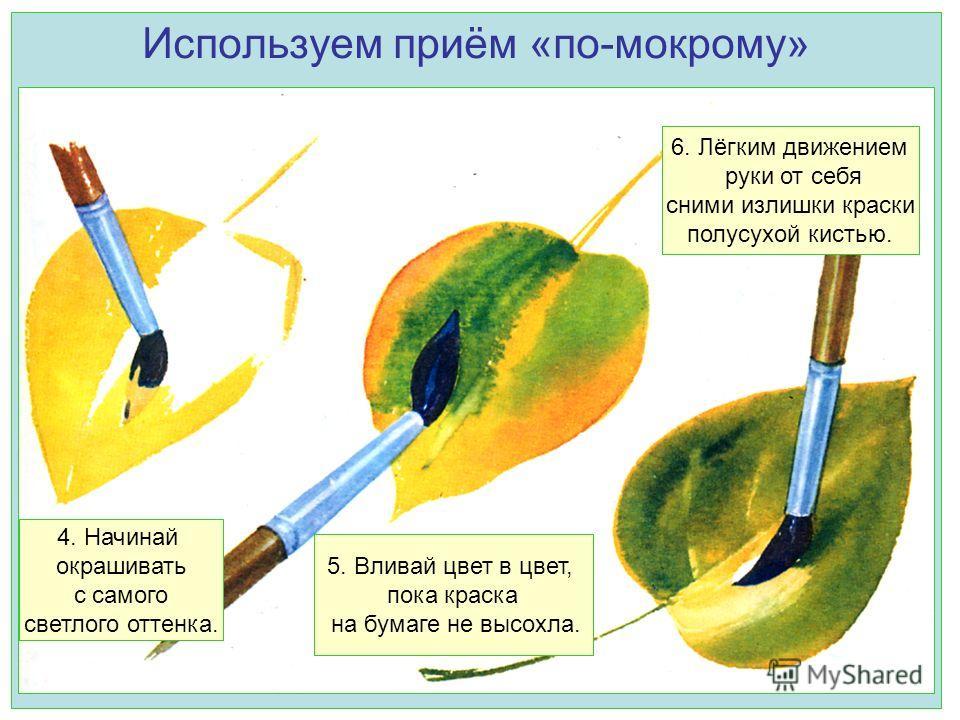 Используем приём «по-мокрому» 4. Начинай окрашивать с самого светлого оттенка. 5. Вливай цвет в цвет, пока краска на бумаге не высохла. 6. Лёгким движением руки от себя сними излишки краски полусухой кистью.