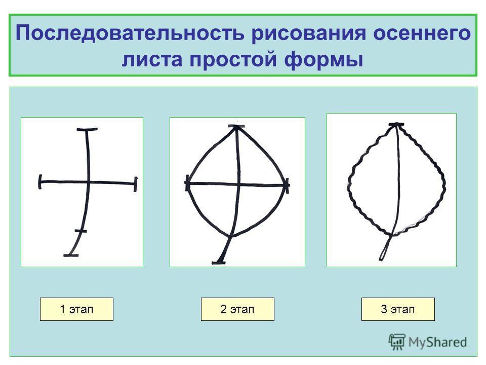 Последовательность рисования осеннего листа простой формы 1 этап2 этап3 этап