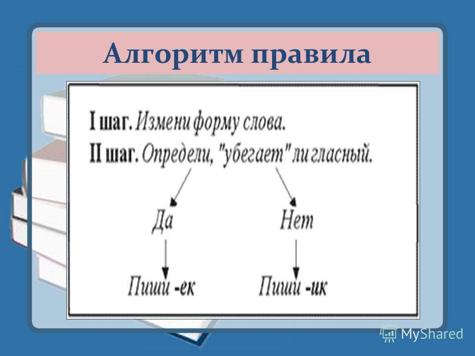 « Запоминалочка!» В суффиксе - ЕК- беглая Е исчезает, Если падеж изменяют. А в суффиксе -ИК- гласный И сохраняется, Когда существительное склоняется.