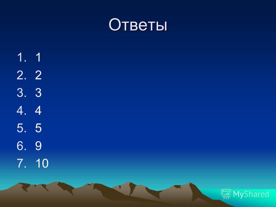Ответы 1.1 2.2 3.3 4.4 5.5 6.9 7.10