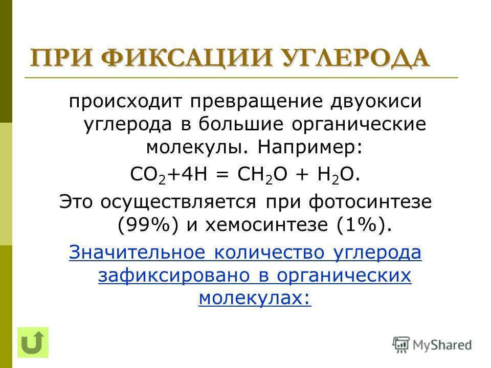 ПРИ ФИКСАЦИИ УГЛЕРОДА происходит превращение двуокиси углерода в большие органические молекулы. Например: СО 2 +4Н = СН 2 О + Н 2 О. Это осуществляется при фотосинтезе (99%) и хемосинтезе (1%). Значительное количество углерода зафиксировано в органич