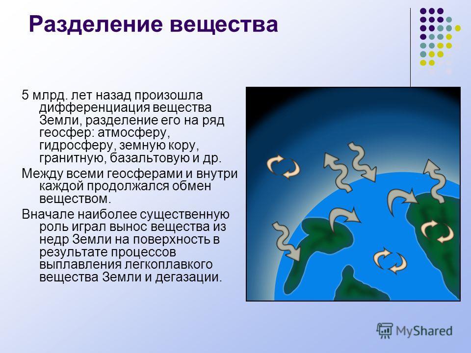 Разделение вещества 5 млрд. лет назад произошла дифференциация вещества Земли, разделение его на ряд геосфер: атмосферу, гидросферу, земную кору, гранитную, базальтовую и др. Между всеми геосферами и внутри каждой продолжался обмен веществом. Вначале