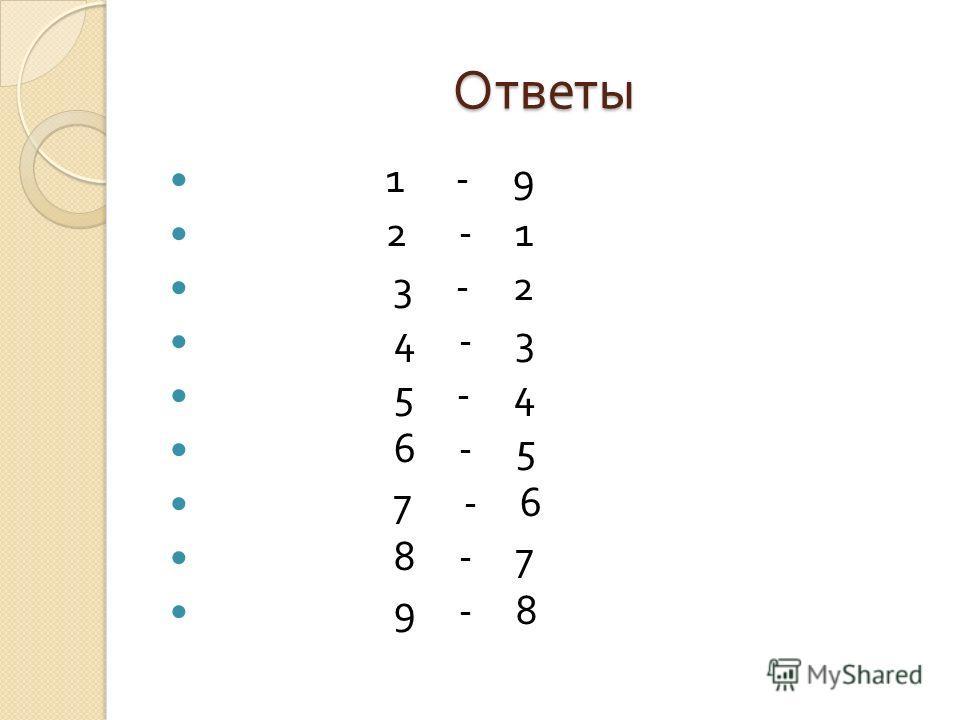 Ответы 1 - 9 2 - 1 3 - 2 4 - 3 5 - 4 6 - 5 7 - 6 8 - 7 9 - 8