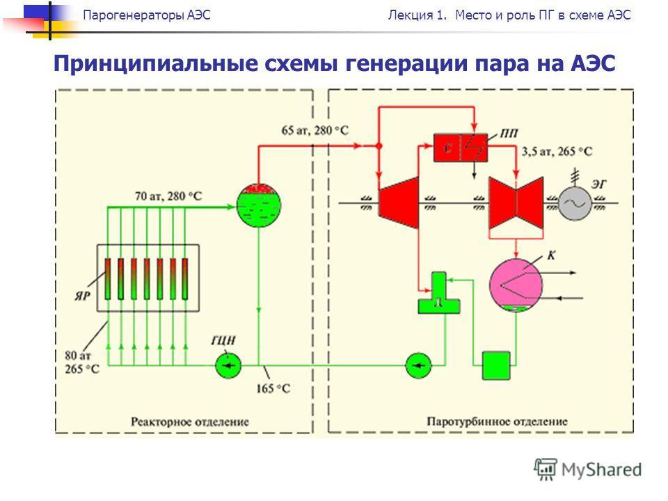 Парогенераторы АЭСЛекция 1. Место и роль ПГ в схеме АЭС Принципиальные схемы генерации пара на АЭС