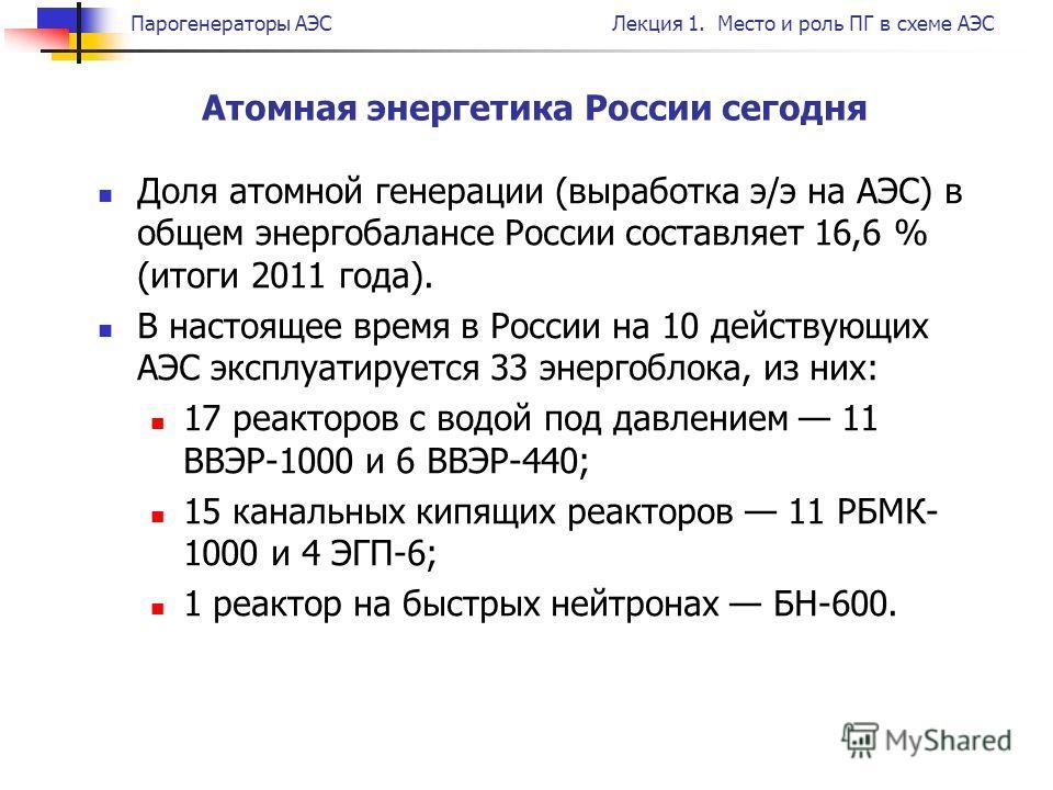 Парогенераторы АЭСЛекция 1. Место и роль ПГ в схеме АЭС Атомная энергетика России сегодня Доля атомной генерации (выработка э/э на АЭС) в общем энергобалансе России составляет 16,6 % (итоги 2011 года). В настоящее время в России на 10 действующих АЭС