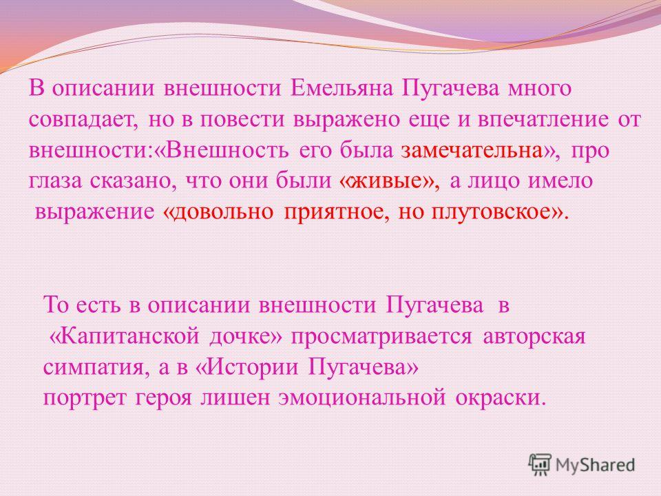 В описании внешности Емельяна Пугачева много совпадает, но в повести выражено еще и впечатление от внешности:«Внешность его была замечательна», про глаза сказано, что они были «живые», а лицо имело выражение «довольно приятное, но плутовское». То ест