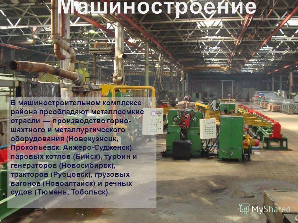 В машиностроительном комплексе района преобладают металлоемкие отрасли производство горно- шахтного и металлургического оборудования (Новокузнецк, Прокопьевск, Анжеро-Судженск), паровых котлов (Бийск), турбин и генераторов (Новосибирск), тракторов (Р