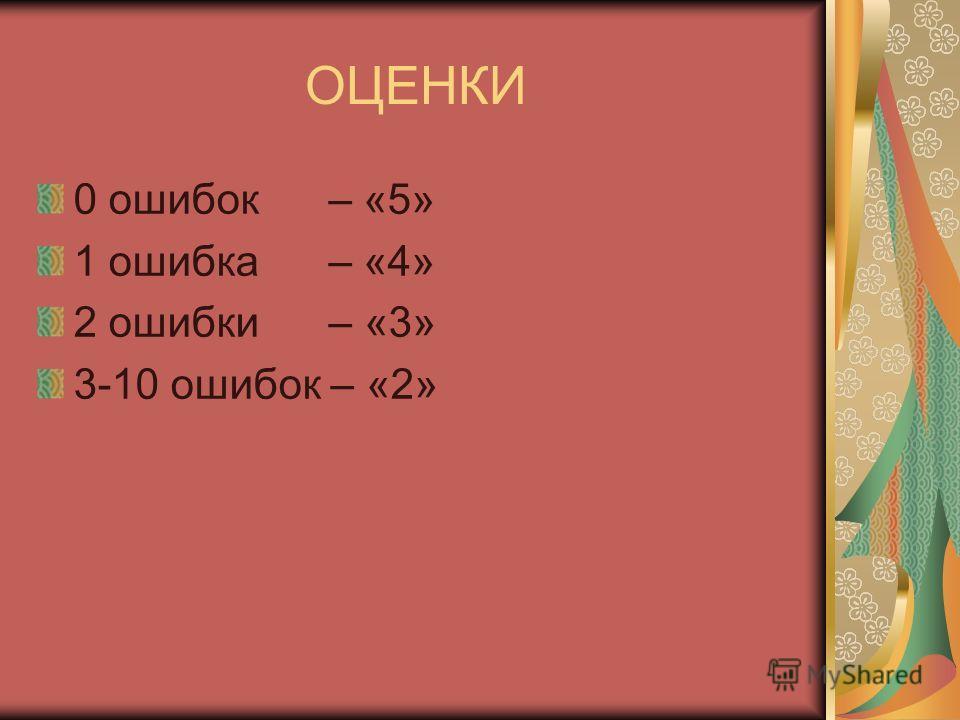 ОЦЕНКИ 0 ошибок – «5» 1 ошибка – «4» 2 ошибки – «3» 3-10 ошибок – «2»