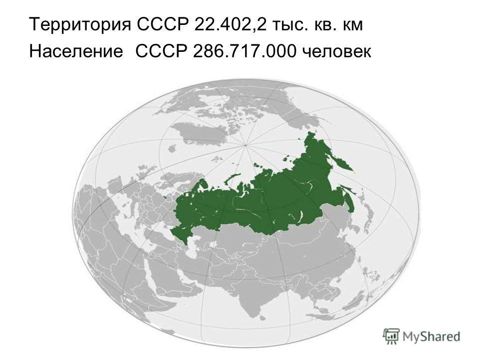Территория СССР 22.402,2 тыс. кв. км Население СССР 286.717.000 человек