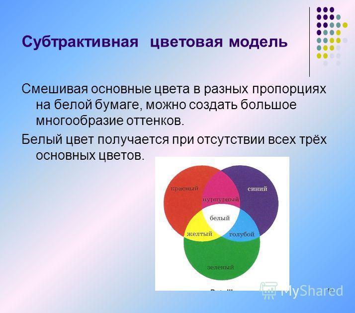 Смешивая основные цвета в разных пропорциях на белой бумаге, можно создать большое многообразие оттенков. Белый цвет получается при отсутствии всех трёх основных цветов. 10